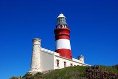 Fyr av udde Agulhas (Sydafrika): Den sydligast poinen Royaltyfri Foto