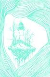 Fyr blåttöversikt, stock illustrationer