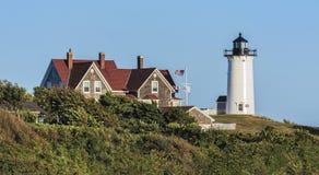 Fyr för Nobska punktljus, trähål, Falmouth, Cape Cod, M Fotografering för Bildbyråer