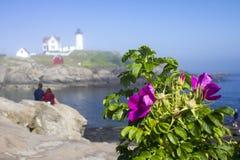 Fyr för ` för Nubble för uddeNeddick `, York, Maine Royaltyfria Bilder