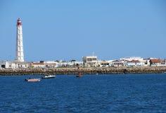 Fyr Faro, Portugal Arkivbild