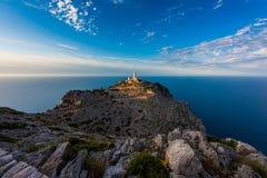 Fyr i Lock de Formentor Mallorca runt om solnedgång Arkivbilder
