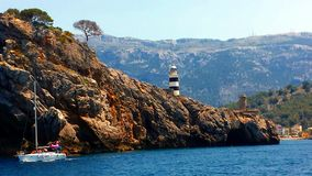 Fyr i Port de Soller, Majorca Mallorca, Spanien arkivbilder