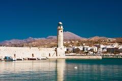 Fyr i Rethymnon, Kreta, Grekland Royaltyfri Foto