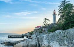 Fyr i västra Vancouver, British Columbia, Kanada Fotografering för Bildbyråer
