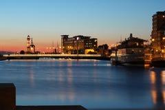 Fyr och bro med fartyget i Malmo Royaltyfria Foton
