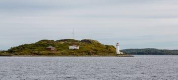Fyr på ön nära Halifax Arkivfoto