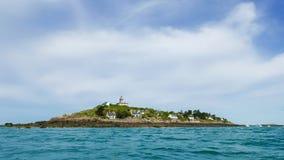 Fyr på den huvudsakliga ön av Iles de Chausey Arkivbild