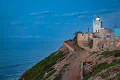 Fyr på kusten av Sidi Ifni Arkivbild
