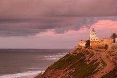 Fyr på kusten av Sidi Ifni Royaltyfri Bild