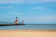 Fyr på Lake Michigan Royaltyfri Bild