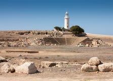 Fyr på Paphos, Cypern Arkivbilder