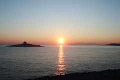 Fyr på solnedgången Royaltyfria Foton