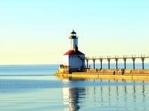 Fyr på strand, Michigan Royaltyfria Bilder