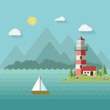 Fyr på stranden, ön, berg i bakgrunden, en yacht eller ett skepp i vatten stock illustrationer