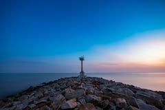 Fyr på stranden Fotografering för Bildbyråer