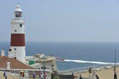 Fyr på Punta de Europa i Gibraltar Fotografering för Bildbyråer