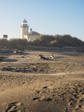 Fyr på stranden Arkivfoton