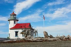 Fyr punkt Robinson, Vashon Island, Washington royaltyfria bilder