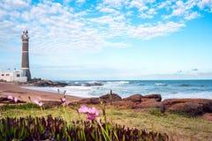 Fyr Punta del Este, Uruguay Arkivbilder