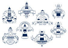 Fyr Stämpel med ett nautiskt tema Nautiskt emblem vektor illustrationer