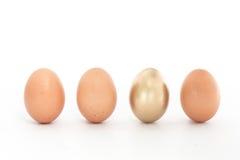 Fyra ägg i en ro med en guld- en Royaltyfri Fotografi