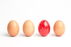 Fyra ägg i en ro med en röd en Fotografering för Bildbyråer