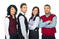 Fyra affärsfolk i en rad Arkivfoton