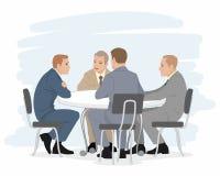 Fyra affärsmanförhandlingar Arkivfoton