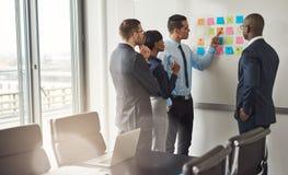 Fyra affärspersoner som planerar med klibbiga anmärkningar Arkivbild