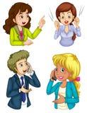 Fyra affärssymboler som meddelar Royaltyfri Foto