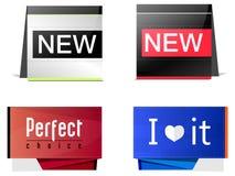Fyra av etiketten stock illustrationer