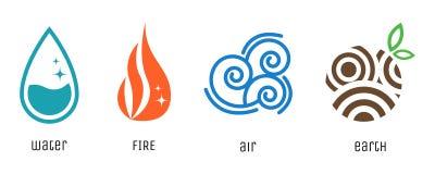Fyra beståndsdelar sänker stilsymboler Vatten brand, luft, jord undertecknar byter ut lätta symboler för bakgrund den genomskinli royaltyfri illustrationer