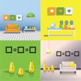 Fyra bilder av inre av rummet stock illustrationer