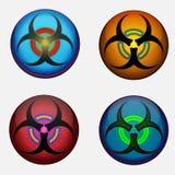 Fyra Biohazardsymboler Royaltyfri Fotografi