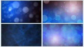 Fyra blåa Bokeh bakgrunder Arkivfoto