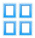Fyra blåa fönsterramar Fotografering för Bildbyråer