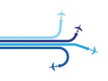 Fyra blåa flygplan Royaltyfri Foto