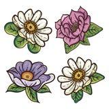 Fyra blom- illustrationer för färgrik tappning vektor illustrationer