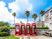 Fyra brittiska telefonbås på Bermuda Royaltyfri Fotografi