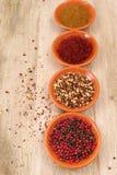Fyra bunkar med saffran, peppar, rasen-hanout, chili med garen Royaltyfria Bilder