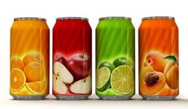 Fyra cans av fruktsaft Royaltyfri Bild
