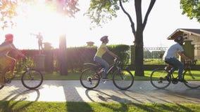 Fyra cyklister i soligt parkerar stock video