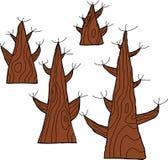 Fyra döda träd Arkivbilder