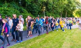Fyra - dagaftonmarsch av Lelystad Royaltyfria Foton