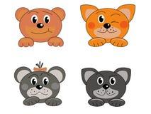 Fyra djura framsidor Arkivfoton