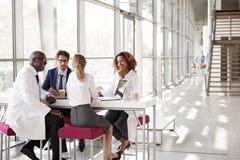 Fyra doktorer som talar på en tabell i ett modernt sjukhus, övar påtryckningar royaltyfri fotografi