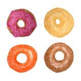 Fyra donuts som isoleras på vit kulöra teckningsblyertspennor Munken skissar Royaltyfri Bild