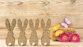 Fyra easter kaniner Arkivfoto