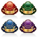 fyra etiketter royaltyfri illustrationer